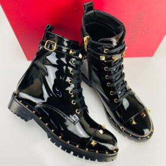 valentino ayakkabi studded combat rugan bot