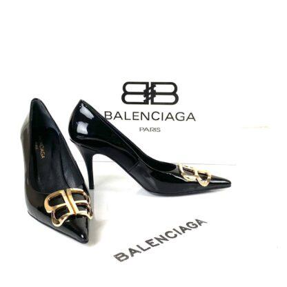 balenciaga ayakkabi siyah rugan stiletto square knife