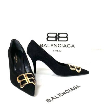 balenciaga ayakkabi siyah suet stiletto square knife
