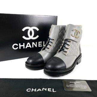 chanel ayakkabi 19 lace up ankle bot gri siyah 4cm