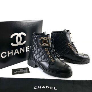 chanel ayakkabi 19 lace up ankle bot siyah 4cm