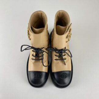 chanel ayakkabi 19 lace up ankle bot siyah ten 4cm