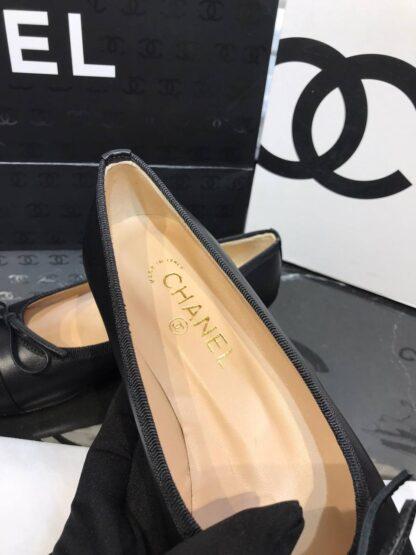 chanel ayakkabi siyah duz model ballerinas babet