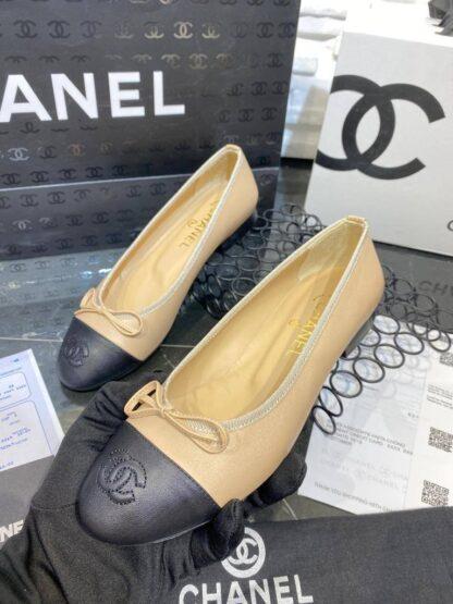 chanel ayakkabi siyah nude duz model ballerinas babet