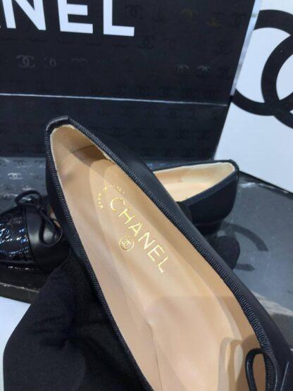 chanel ayakkabi siyah rugan burun ballerinas babet