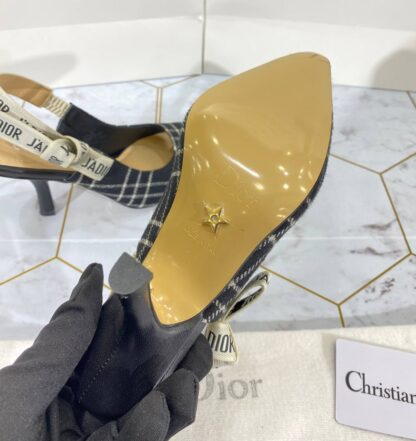 christian dior ayakkabi ekoseli stiletto jadior slingback topuk 9 cm