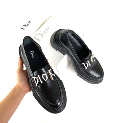 christian dior ayakkabi siyah deri derby topuk 5 cm