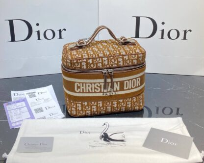 christian dior canta vanity case nakisli taba 24x17 cm