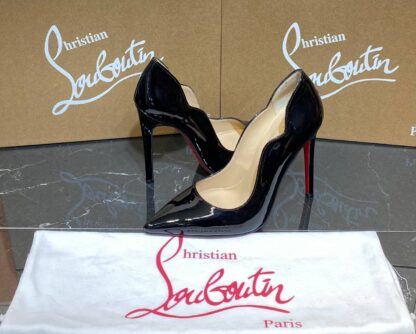 christian louboutin ayakkabi stiletto rugan siyah topuklu 12 cm