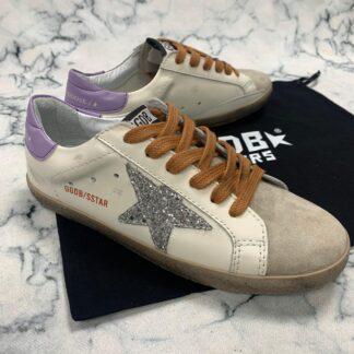 golden goose ayakkabi superstar beyaz lila simli sneaker