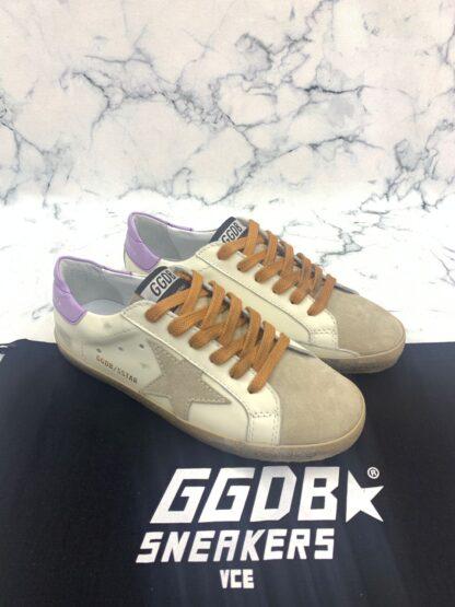 golden goose ayakkabi superstar beyaz lila sneaker