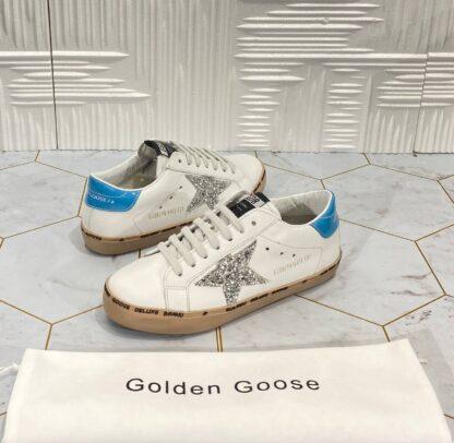 golden goose ayakkabi superstar sneakers beyaz mavi