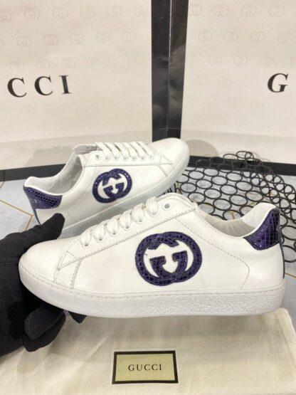 gucci ayakkabi sneaker mor beyaz