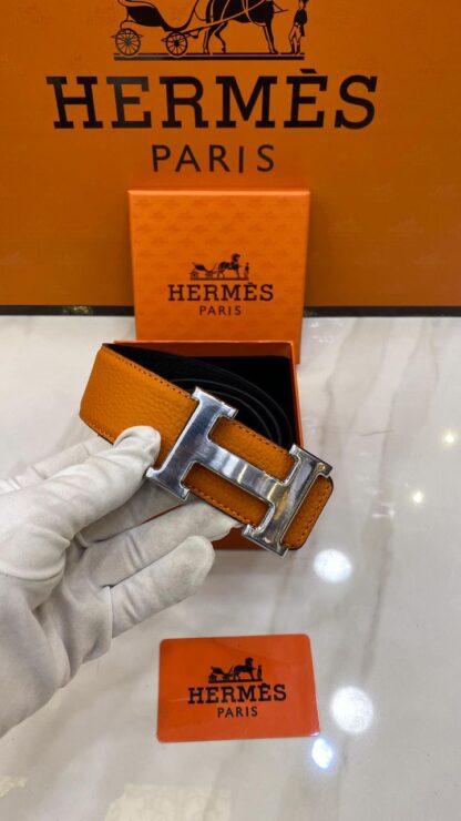 hermes kemer silver toka turuncu cift tarafli