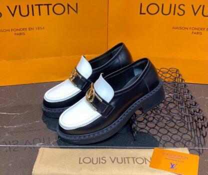 louis vuitton ayakkabi academy loafer siyah beyaz