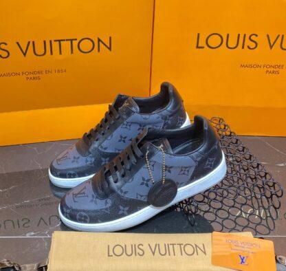 louis vuitton ayakkabi erkek sneaker rivoli siyah gri