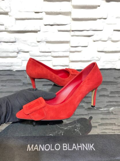 manolo blahnik ayakkabi stiletto pumps kirmizi suet topuk 8 cm
