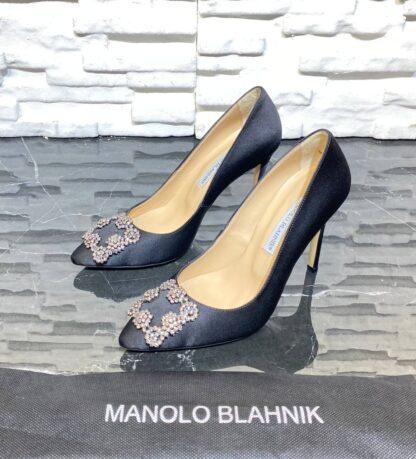 manolo blahnik ayakkabi stiletto pumps siyah saten 10 cm