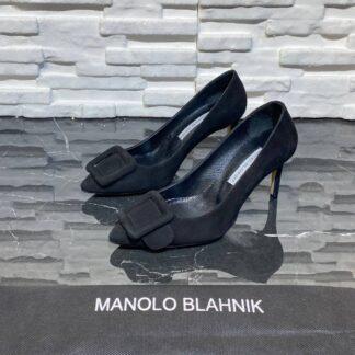 manolo blahnik ayakkabi stiletto pumps siyah suet topuk 8 cm