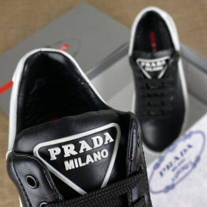 prada ayakkabi erkek sneaker contrast heel siyah beyaz