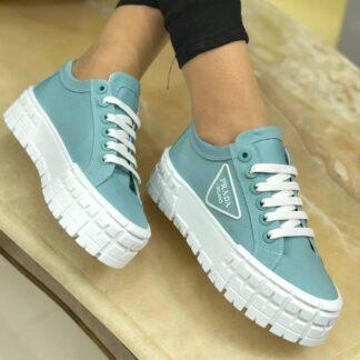 prada ayakkabi mavi gabardine
