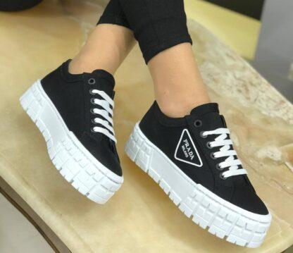 prada ayakkabi siyah gabardine