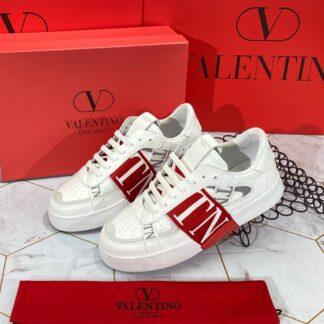 valentino ayakkabi garavani erkek sneaker beyaz kirmizi