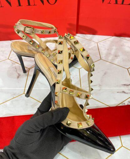 valentino ayakkabi rockstud kadin topuklu siyah rugan
