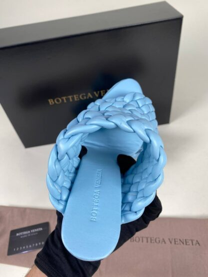 bottega veneta ayakkabi deri mavi terlik topuk 10 cm