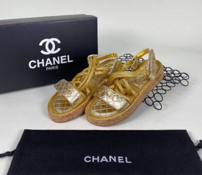 chanel sandalet terlik gold