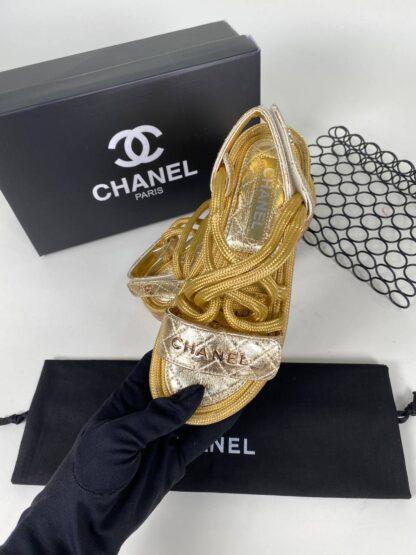 chanel ayakkabi sandalet terlik gold