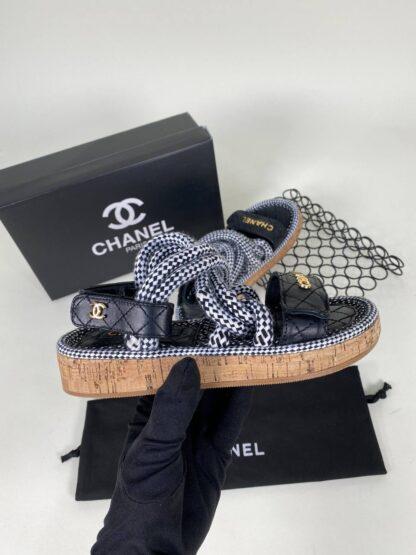 chanel ayakkabi sandalet terlik siyah