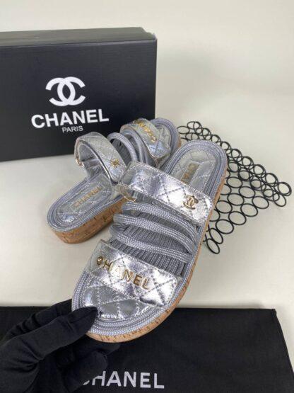 chanel ayakkabi silver terlik yeni sezon