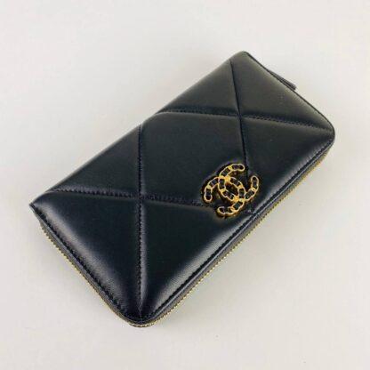 chanel canta 19 zipped siyah cuzdan 20x11cm