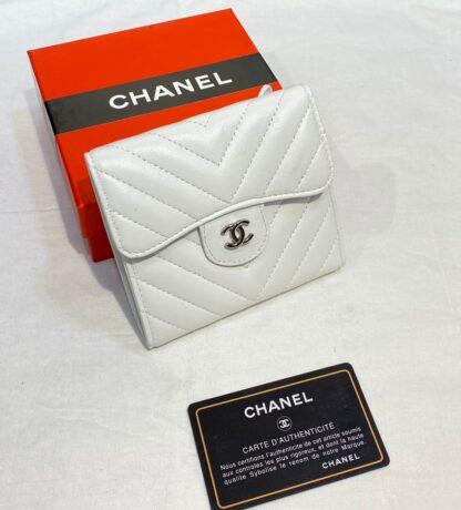 chanel canta beyaz silver chevron mini cuzdan