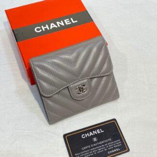 chanel canta gri silver chevron mini cuzdan 11x9 cm