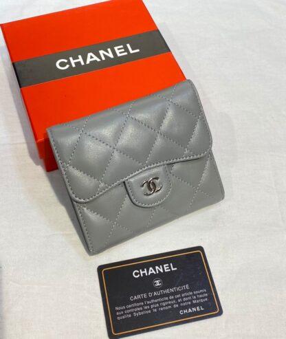 chanel canta gri silver kapitone desen mini cuzdan