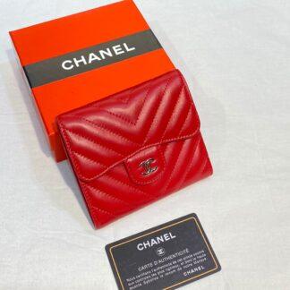 chanel canta kirmizi silver chevron mini cuzdan 11x9 cm