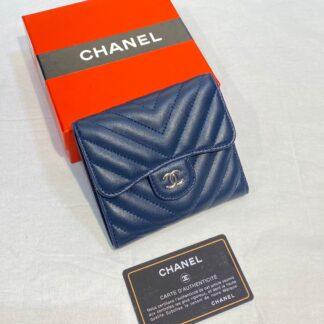chanel canta lacivert silver chevron mini cuzdan 11x9 cm