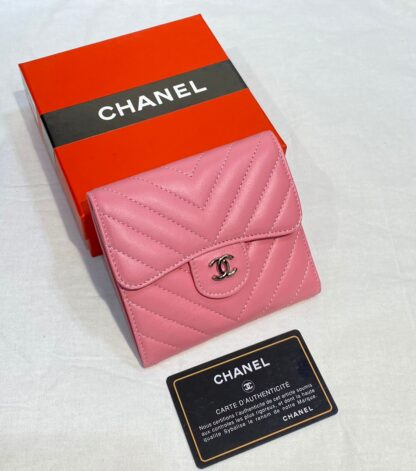 chanel canta pembe silver chevron mini cuzdan 11x9 cm