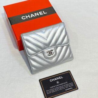 chanel canta silver chevron mini cuzdan 11x9 cm