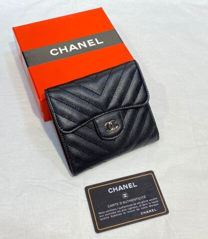 chanel canta siyah silver chevron havyar mini cuzdan 11x9 cm