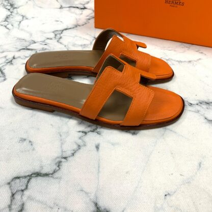 hermes ayakkabi turuncu terlik tirtikli deri