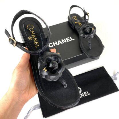 chanel ayakkabi sandalet camellia cicekli siyah