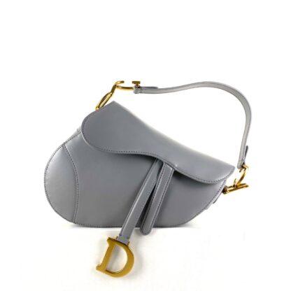 christian dior canta saddle calfskin gri eskitme altin rengi 25x20x6 cm