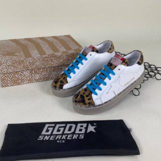 golden goose ayakkabi beyaz leopar mavi sneakers taban 3cm