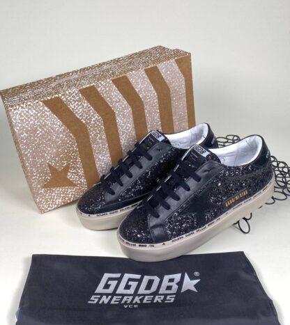 golden goose ayakkabi sneaker kadin siyah simli ithal