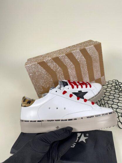golden goose ayakkabi sneakers leopar beyaz ithal