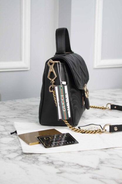 gucci canta marmont top handle siyah 21x15.5x8 cm