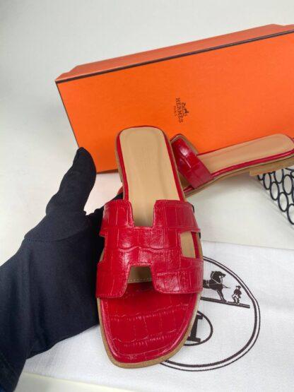 hermes ayakkabi kirmizi croco ithal terlik